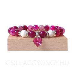Rózsaszín achát karkötő kagylóhéjjal és Swarovski szív medállal