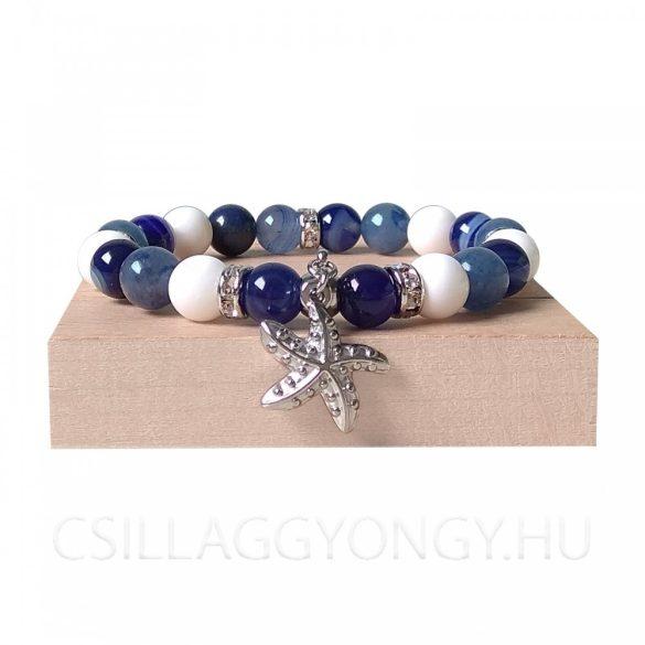 Achát, kékkvarc és kagylóhéj karkötő tengeri csillag medállal
