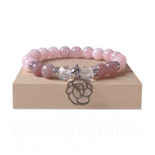 Rózsakvarc karkötő eperkvarccal, fazettált hegyikristállyal és rózsa medállal