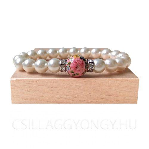 Swarovski karkötő pink Tensha gyönggyel