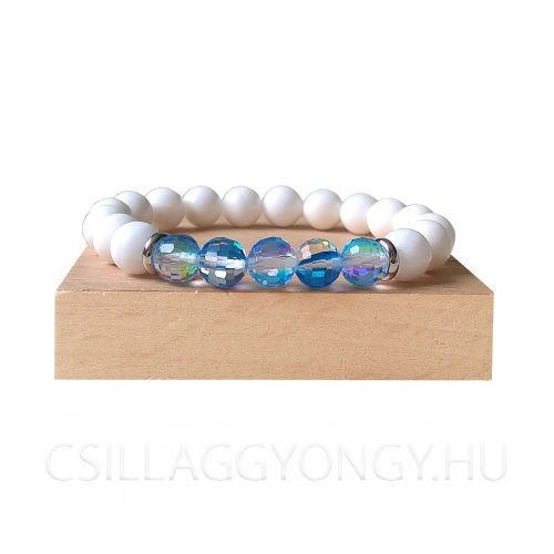 Kagylóhéj karkötő kék hologramos üveggyönggyel