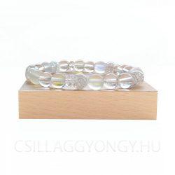 Hegyikristály karkötő hologramos üveggyönggyel